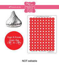 Red hugs & kisses Printable Candy Stickers