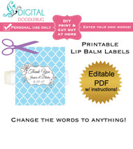 Floral Blue Quatrefoil Printable Lip Balm Labels