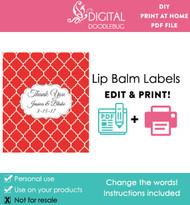 Red Quatrefoil Printable Lip Balm Labels