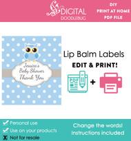 Blue Owl Printable Lip Balm Labels