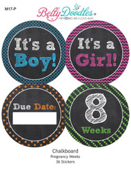 Chalkboard 36 Weekly Pregnancy Stickers