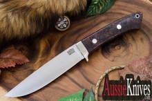 Bark River Knives Wilderness Explorer Cru-Wear Dark Purple & Gold Elder Burl