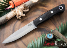 Bark River Knives: Aurora Scandi - Black Canvas Micarta