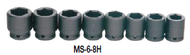 "19 - 41MM Williams 3/4"" Dr Shallow Impact Socket Set 6 Pt 8 Pcs & Clip Rail- MS-6-8H"