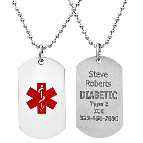 Medical id tags medical id tag necklace quality stainless steel medical id dog tag with 30 bead chain aloadofball Images