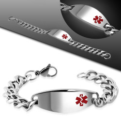 18mm Men's Stainless Steel  Medical Alert ID Cuban Curb Link Bracelet