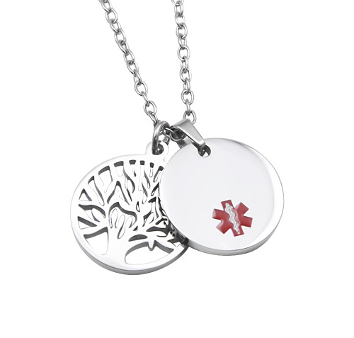 Medical alert id pendant stainless steel round medical id pendant with tree of life charm aloadofball Images