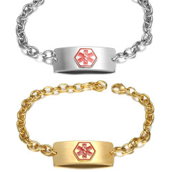 Personalized Quality Stainless Steel Medical Alert ID Bracelet