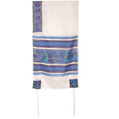 The Twelve Tribes White & Blue Hand Painted Silk Tallit By Yair Emanuel