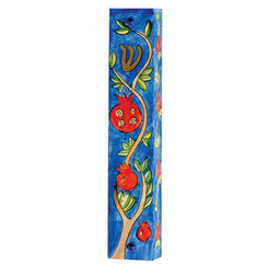 Pomegranates Small Painted Wooden Mezuzah Case By Yair Emanuel