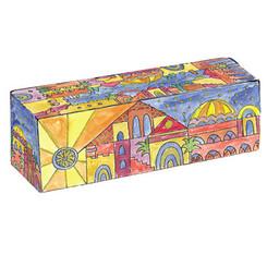 jerusalem Painted Wooden Traveling Hanukkah Menorah By Yair Emanuel