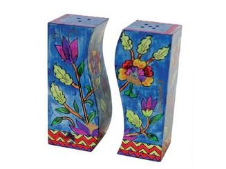 Flowers Painted Wooden Salt & Pepper Shakers By Yair Emanuel