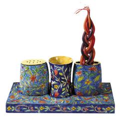 Oriental Painted Wooden Havdala Set By Yair Emanuel