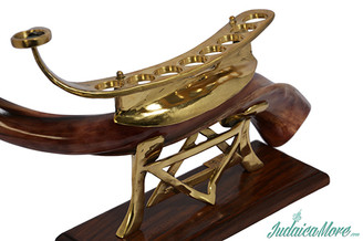 "Full Polish Shofar 28"" + Gold Hanukkah Menorah Stand Creation"