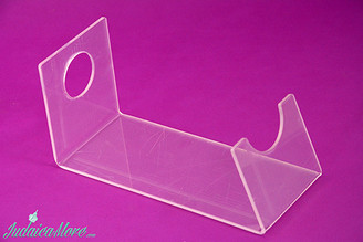 "Clear Acrylic (Lucite) Shofar Stand for Ram's Horn Shofars (up to Size 15"")"