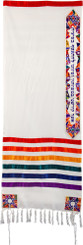 Magen David Multicolor Embroidered Tallit By Yair Emanuel