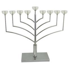 "Hanukkah Menorah Silver Plated & Crystal ""Chabad"" 55 CM"