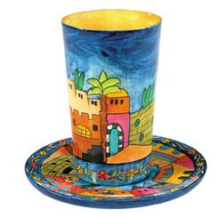 Jerusalem Painted Wooden Kiddush Cup By Yair Emanuel