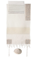 Silver Hand Embroidered Tallit By Yair Emanuel