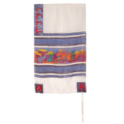 The Twelve Tribes White Hand Painted Silk Tallit By Yair Emanuel
