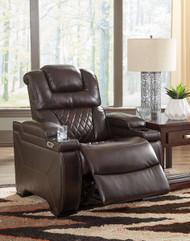 Warnerton Chocolate Power Recliner/Adjustable Headrest