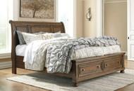 Flynnter Medium Brown California King Sleigh Storage Bed