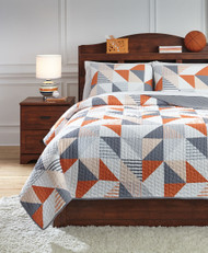 Layne Gray/Orange Full Coverlet Set