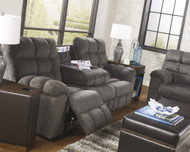 Acieona Reclining Sofa with Drop Down Table: Slate