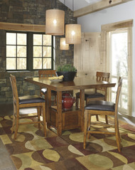 Ralene Dining Room Counter Hight Extension Table: Medium Brown