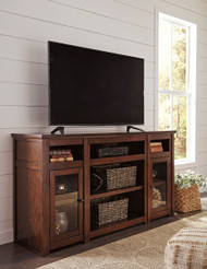 Harpan Reddish Brown XL TV Stand with Fireplace Option
