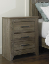 Zelen Two Drawer Night Stand: Warm Gray