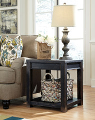 Gavelston Black Square End Table