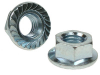 Serrated Flange Hex Nuts - Bright Zinc Plated