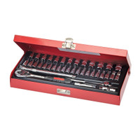 "Silverline 1/4"" Drive Metric Socket Wrench Set - 38 piece"