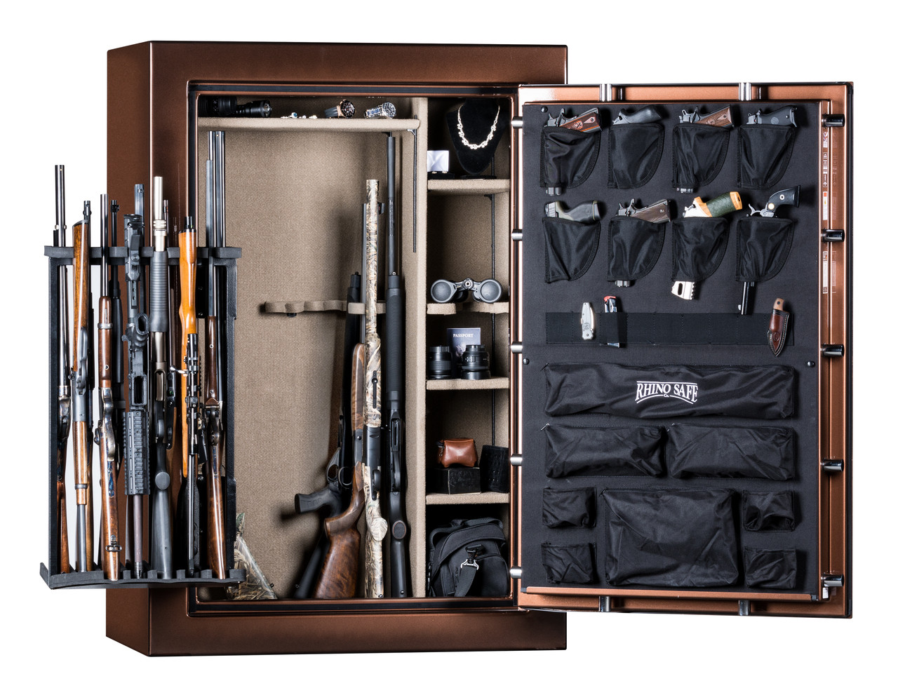 Rhino Supreme A Series Gun Safe Opened in Bronze with optional Swing Out Rack