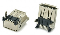 1394a 6 Pin Right Angle FireWire Connector Receptacle