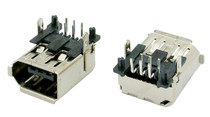 1394 FireWire 6 Pin Connector Receptacle, Right Angle, Thru-Hole Type