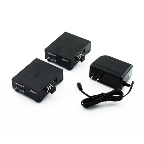 A FireNEX-MX™ SET comes with two FireNEX-MX™ optical repeaters, and one 120VAC/12VDC DC power supply and a manual.
