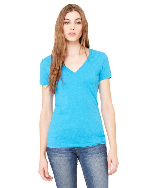 Bella Ladies Deep V-Neck Jersey T-Shirt