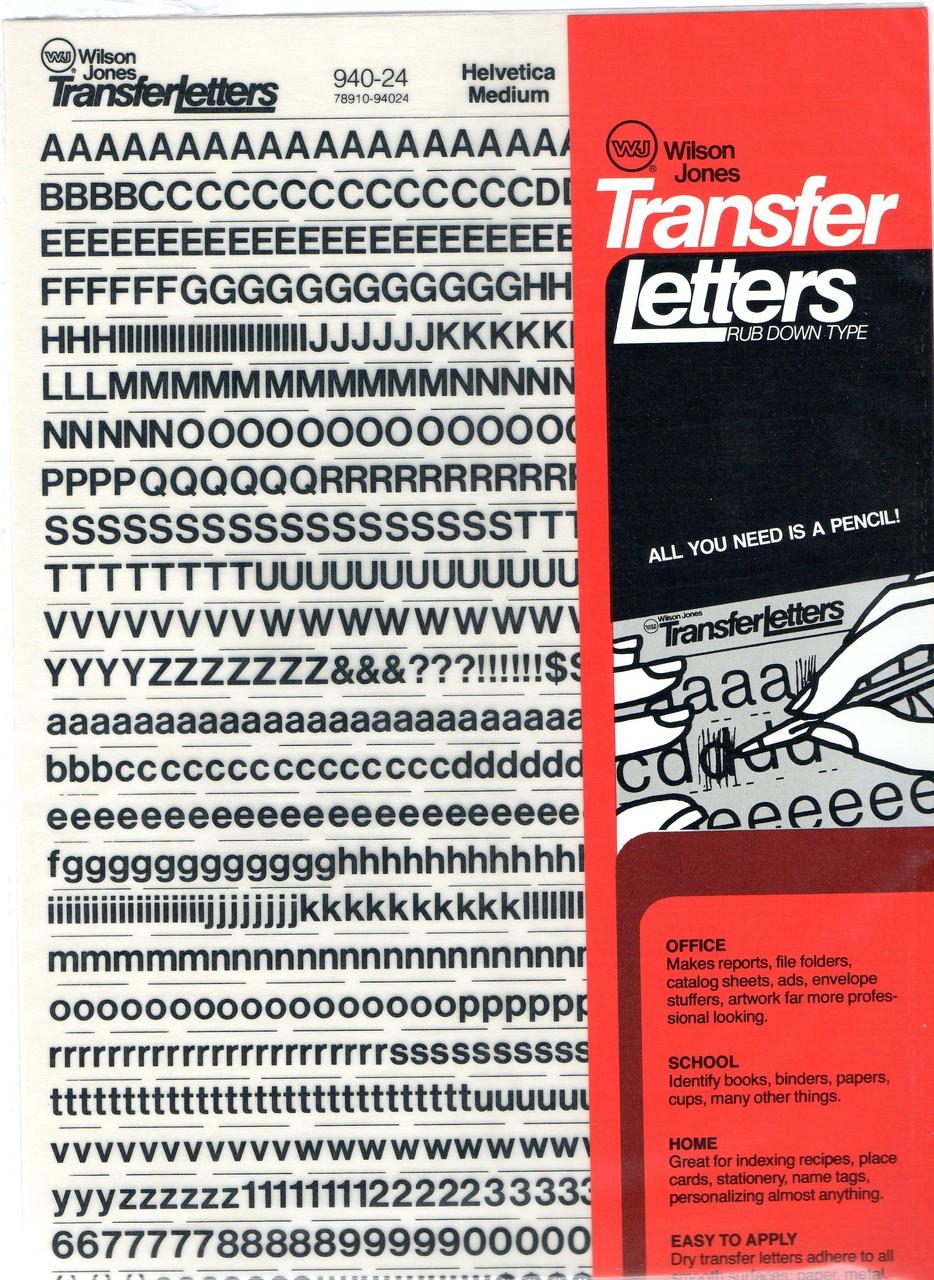transfer letters informatin for letter rub on letters wilson jones