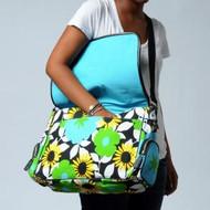 Messenger Bag w / laptop sleeve in Bloom Blue