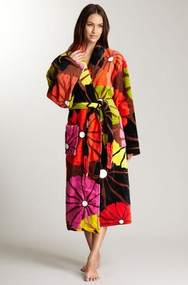 Unisex cotton terry robe in Umbrella Flower Brown