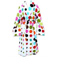 Cotton Printed Terry robe in AeroDot Multi White