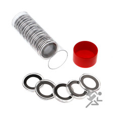 Red Capsule Tube & 20 Air-Tite 19mm Black Ring Coin Capsules