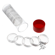 Red Capsule Tube & 20 Air-Tite A22 Direct Fit Coin Capsules