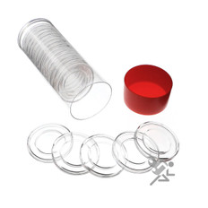 Red Capsule Tube & 20 Air-Tite H27 Direct Fit Coin Capsules