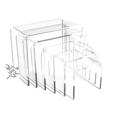 "Clear Acrylic 3/16"" Medium Rectangle 6 Piece Riser Set Display Stands"