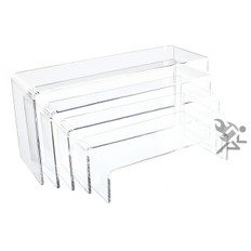 "Clear Acrylic 3/16"" Long Rectangle 5 Piece Riser Set Display Stands"