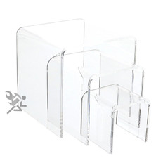 "Clear Acrylic 1/8"" Medium Square Riser 3 Piece Set Display Stands"