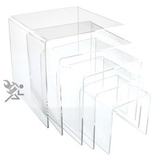 "Clear Acrylic 1/8"" Large Square Riser 5 Piece Set Display Stands"